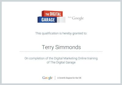 Qualification on completion of the Digital Marketing Online training of The Digital Garage - Terry Simmonds - Citations Booster Webmaster